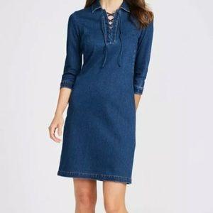 J. McLaughlin Medora Blue Denim Lace Up Dress